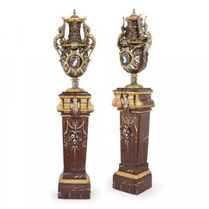 Immense pair of Second Empire vases and pedestals