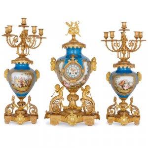 Antique Sèvres style porcelain and ormolu clock set