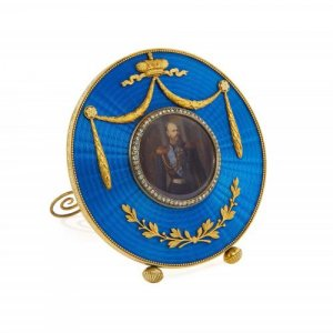 Russian Fabergé style silver gilt and enamel photo frame