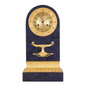 Charles X period lapis and ormolu mantel clock by G. J. Galle