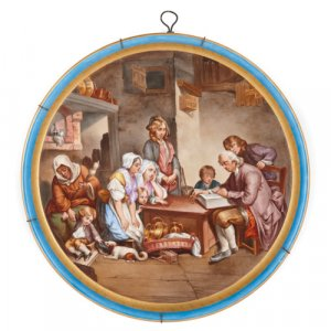 French porcelain plaque with gold and turquoise border