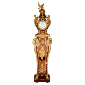 Régence style ormolu mounted kingwood longcase clock by Kahn