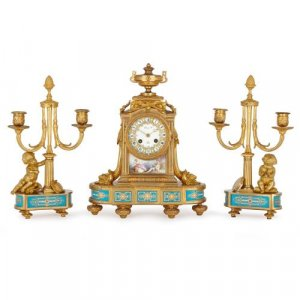Porcelain mounted ormolu antique clock set by Raingo Frères