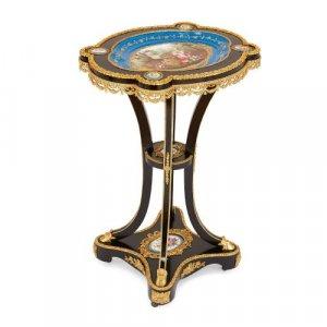 Ormolu mounted Sèvres porcelain and ebonised wood side table