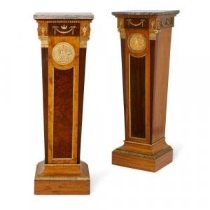 Pair of English marble topped mahogany pedestals