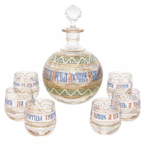 Antique Russian seven-piece enameled glass vodka drinking set