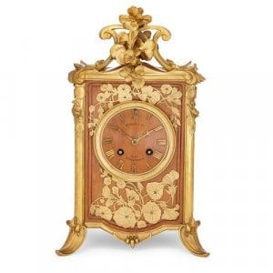 Art Nouveau period ormolu mounted wooden mantel clock
