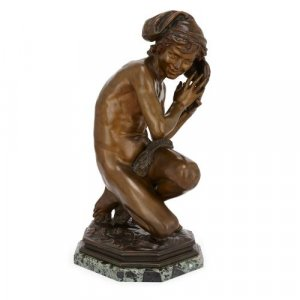 Patinated bronze figure of a young fisherboy by Carpeaux