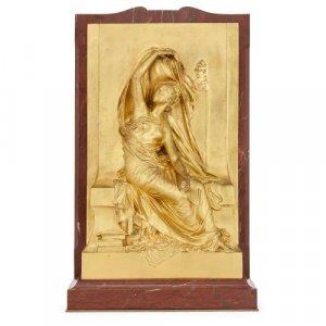 'La Pensée', antique French ormolu relief panel by Chapu