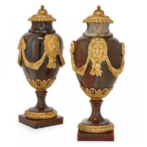Pair of Louis XVI period ormolu mounted agate vases