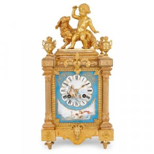 Ormolu and Sevres style porcelain Neoclassical mantel clock