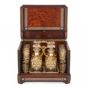 Antique gilded cut glass liquor set in marquetry casket