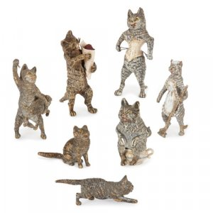 Antique Viennese cold painted bronze models of cats