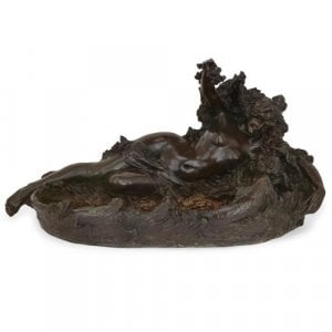 Art Nouveau period patinated bronze fountain by Louis Oury