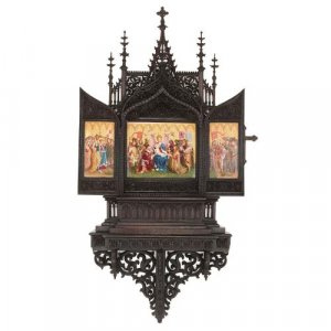 Gothic revival style KPM porcelain and carved oak triptych