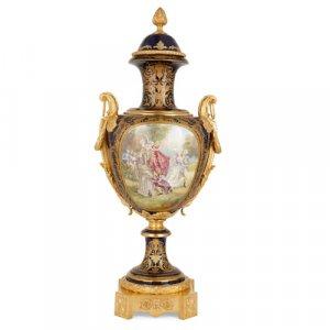 Large ormolu mounted Sèvres style porcelain vase