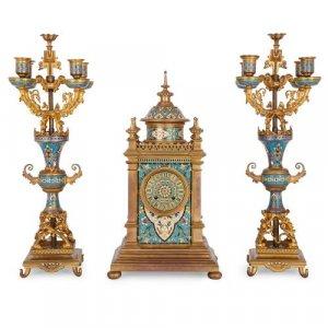 Antique champleve enamel and ormolu three piece clock set