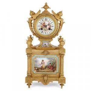 Antique ormolu and Sevres style porcelain mantel clock by Royer