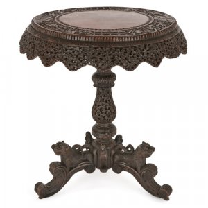 Antique Burmese carved hardwood and rosewood occasional table