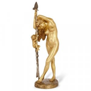 'Bacchante A L'Amour', antique ormolu sculpture by Gerome