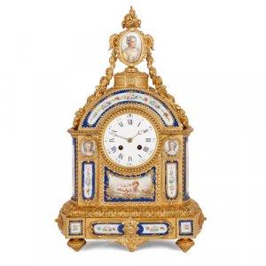 Antique Sèvres style ormolu mantel clock with porcelain plaques
