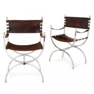 Pair of French Modernist silvered metal and leather armchairs