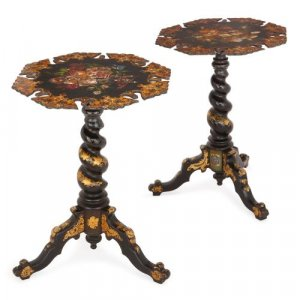 Pair of English Victorian period lacquer occasional tables