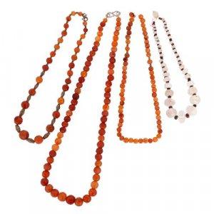 Set of four Islamic semi-precious stone bead necklaces