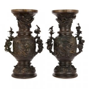 Pair of Japanese Meiji period patinated bronze vases