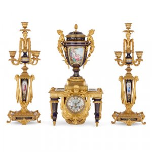Sèvres style porcelain and ormolu clock set by Barbedienne