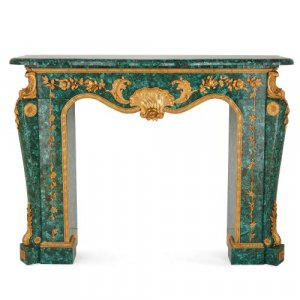 French Baroque style ormolu mounted malachite fireplace