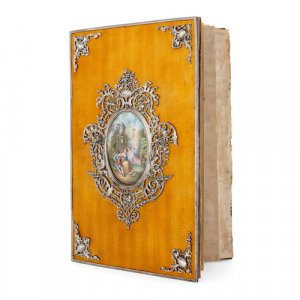 Silver mounted guilloché enamel Exhibition folder
