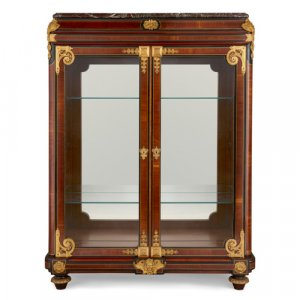 Ormolu mounted mahogany and ebonised wood vitrine