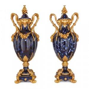 Pair of Louis XV style ormolu mounted ceramic vases