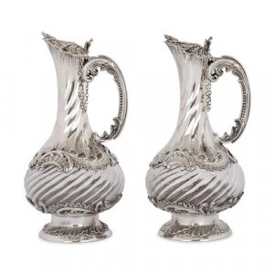 Pair of antique silver and crystal jugs by Lancon