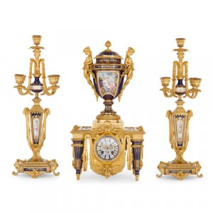 Sèvres style porcelain and ormolu clock set by Barbedienne and Sévin