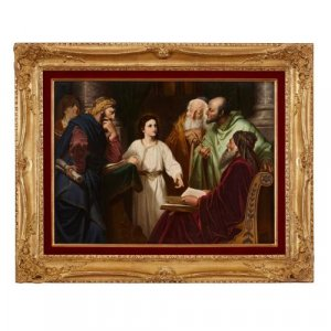 Large antique KPM porcelain plaque of 'Christ in the Temple'