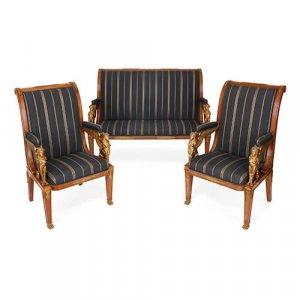 Antique French mahogany and ormolu mounted furniture suite
