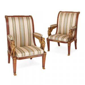 Large pair of French Empire style armchairs