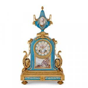 Sèvres style porcelain and ormolu mantel clock