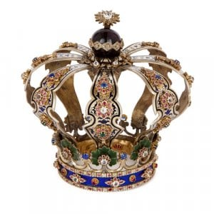 Judaica silver, enamel and precious stone Torah crown
