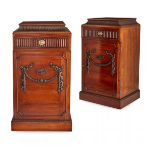 Pair of George III style mahogany pedestal cabinets