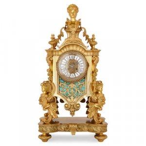 French Louis XV style ormolu and malachite mantel clock