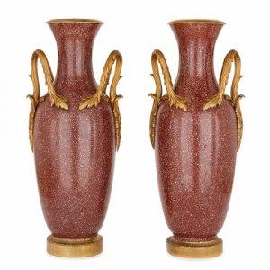 Pair of antique Italian ormolu mounted scagliola vases