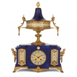 French Grecian style ormolu, enamel and lapis lazuli mantel clock