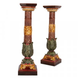 Pair of antique Sarreguemines majolica pedestals