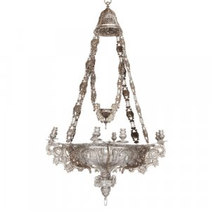Baroque style solid silver chandelier