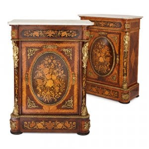 Pair of French ormolu mounted marquetry side cabinets