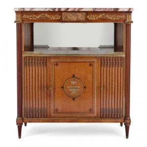 Antique French ormolu, burr amboyna and marble side cabinet