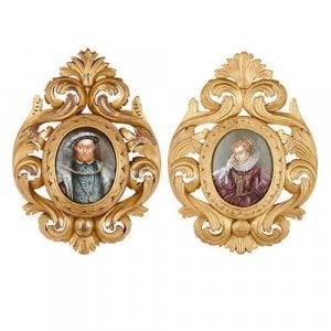 Pair of antique Limoges enamel plaques in giltwood frames